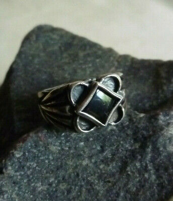 VTG Sterling Silver Diamond Shape Black Onyx Ring Sz 8.5 Signed RJM 925 STERLING