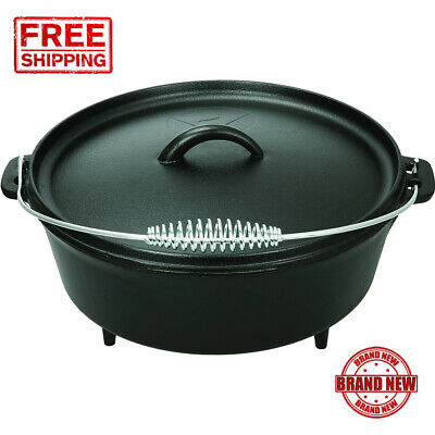 5 quart Dutch Oven Lid Pre Seasoned Cast Iron Pot Bake Fry Stew Top Quality New