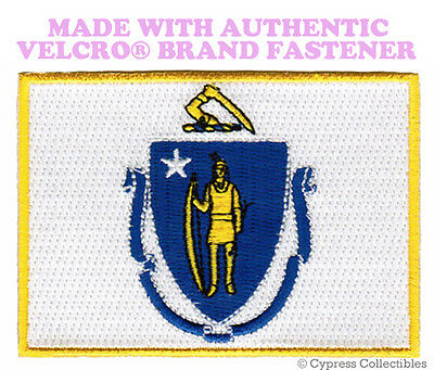 MASSACHUSETTS STATE FLAG PATCH EMBROIDERED APPLIQUE w/ VELCRO® Brand Fastener