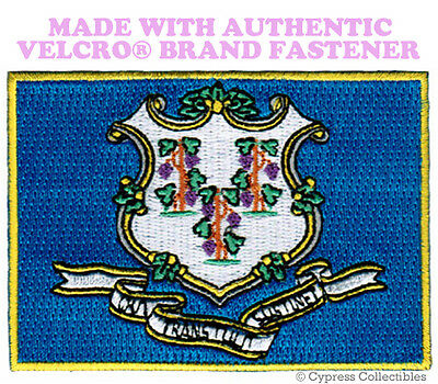 CONNECTICUT STATE FLAG PATCH EMBROIDERED APPLIQUE w/ VELCRO® Brand Fastener