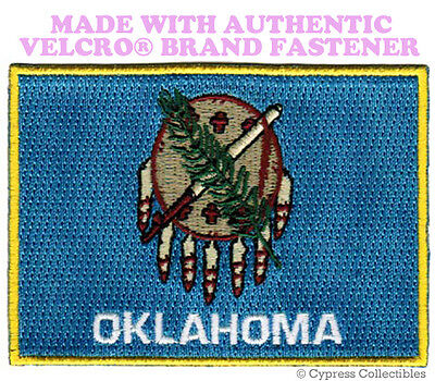 OKLAHOMA STATE FLAG PATCH EMBROIDERED SYMBOL APPLIQUE w/ VELCRO® Brand Fastener