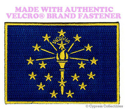 INDIANA STATE FLAG PATCH EMBROIDERED SYMBOL APPLIQUE w/ VELCRO® Brand Fastener