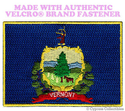 VERMONT STATE FLAG PATCH EMBROIDERED SYMBOL APPLIQUE w/ VELCRO® Brand Fastener