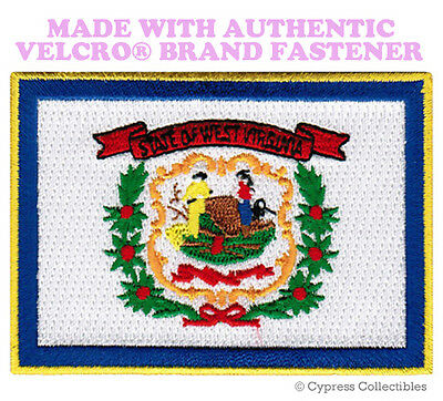 WEST VIRGINIA STATE FLAG PATCH EMBROIDERED APPLIQUE w/ VELCRO® Brand Fastener