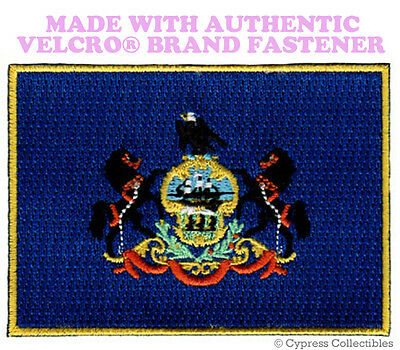 PENNSYLVANIA STATE FLAG PATCH new EMBROIDERED APPLIQUE w/ VELCRO® Brand Fastener