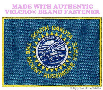 SOUTH DAKOTA STATE FLAG PATCH new EMBROIDERED APPLIQUE w/ VELCRO® Brand Fastener