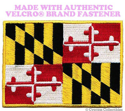 MARYLAND STATE FLAG PATCH EMBROIDERED SYMBOL APPLIQUE w/ VELCRO® Brand Fastener