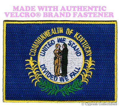 KENTUCKY STATE FLAG PATCH EMBROIDERED SYMBOL APPLIQUE w/ VELCRO® Brand Fastener
