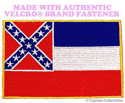MISSISSIPPI STATE FLAG PATCH EMBROIDERED new APPLIQUE w/ VELCRO® Brand Fastener