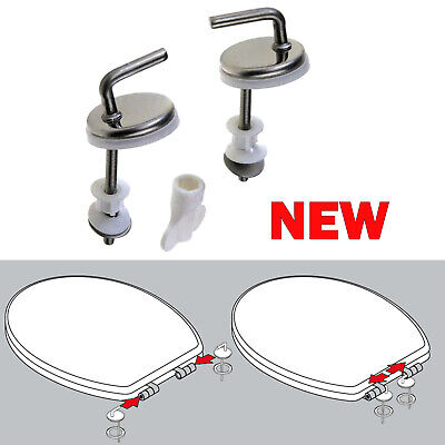 2x Toilet Seat Fix Fitting Stainless steel Back To Wall Replacement Hinges Hinge