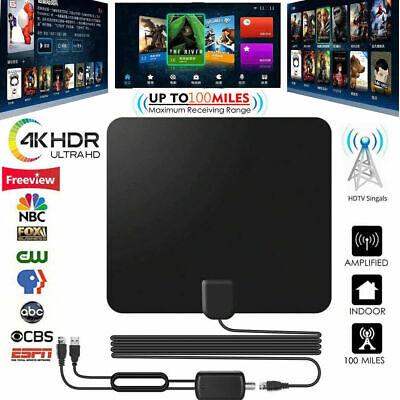 TV Antenna Indoor+HD Digital Aerial Freeview Signal Amplified Thin HDTV 100 Mile