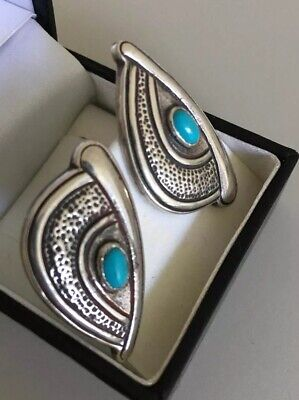 Pair Of Vintage Beautiful Boho Blue Turquoise Stud Silver Earrings 925