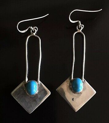 Pair Vintage Beautiful Boho Blue Turquoise Handmade Dangle Silver Earrings 925