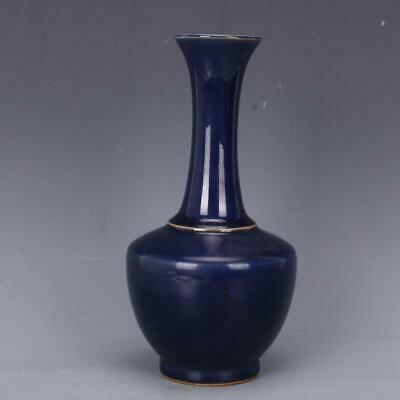 Chinese ancient antique hand make Blue glaze vase Porcelain Decoration s268