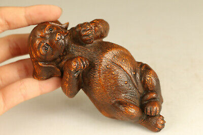 Lovely gift old boxwood hand carved dog netsuke collectable statue ornament