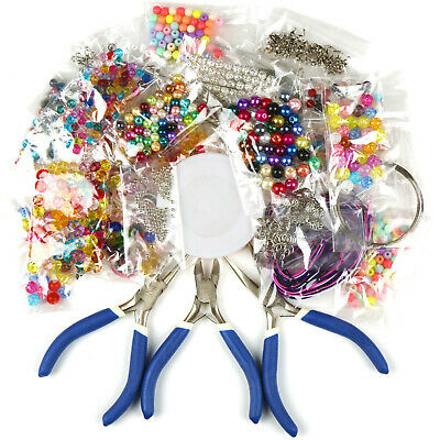 Jewellery Making Starter Beads Kit Wire Pliers Tools Set Findings Threads DIY
