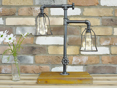 Industrial Double Light Desk Lamp Rustic Pipe Office Lighting Table Top Base New