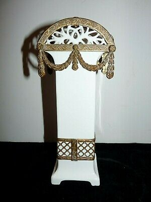 """ANTIQUE 9"""" MAX ROESLER White Vase RETICULATED Brass ORMOLU Swags Bavaria"""