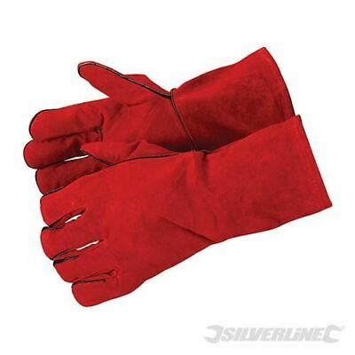 Silverline Welder Gauntlets Leather Red High Temperature Gloves Long Lined 1.2mm