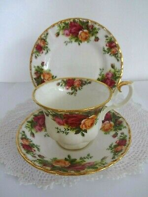 vintage royal albert old country roses china trio tea  cup saucer plate