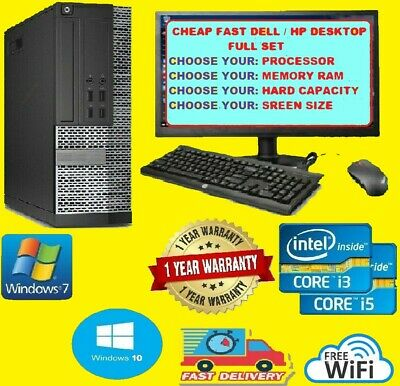 CHEAP DELL/HP i5 i3 DESKTOP TOWER PC &TFT COMPUTER SET 16GB WINDOWS 10 HDD & SSD