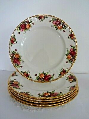 6 vintage royal albert old country roses china dinner plates