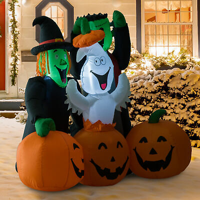 5FT Halloween Airblown Inflatable Ghost Pumpkin Jack O Lantern Yard Decorations