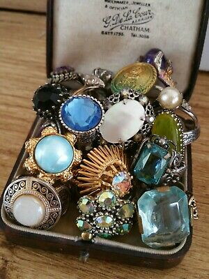 Great Lot of 20 Mixed Vintage Dress Rings Great Selection