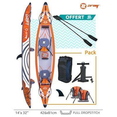 Canoé Gonflable Zray KAYAK DRIFT avec 2 Pagaies