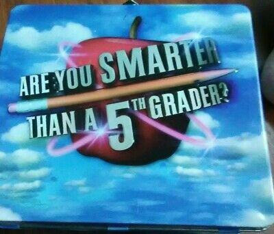Are You Smarter Than A 5th Grader  Game, Lunch Box Tin w/Die, Cards & Scorecards