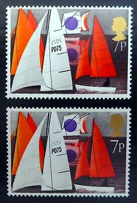 GB 1975 Sailing 7p Showing 1p Under Queens Head with Normal BP969