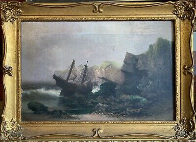 Antique English Marine Signed Oil Painting - Shipwrecked Boat Stormy Coastline