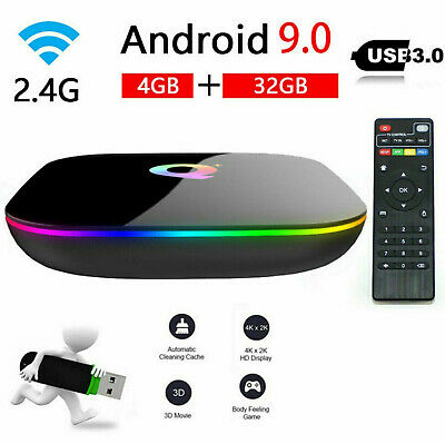 SMART TV BOX Q-PLUS ANDROID PIE 9.0 4GB RAM 32GB 6K Iptv dazn WIFI NEW