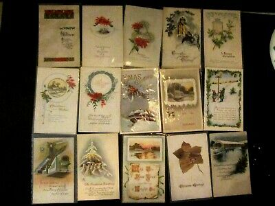Vintage Antique lot of 15 Christmas Postcards. Early 1900s. Holly, Berry. Lot#2
