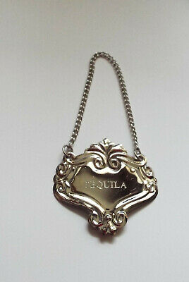 Silver Ornate Tequila Liquor Bottle Decanter Tag Label