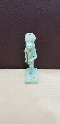 Sekhmet Egyptian Goddess Statue Ancient Figurine Throne Sculpture Egypt art blue