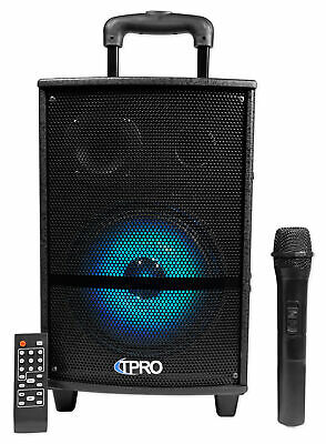 Technical Pro WASP810B Rechargeable Bluetooth Karaoke Machine System w/LED's+Mic