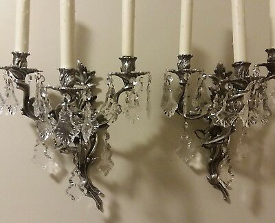 Two Early 19thC Silver Bronze French Rococo Style Crystal Prisms Wall Sconces