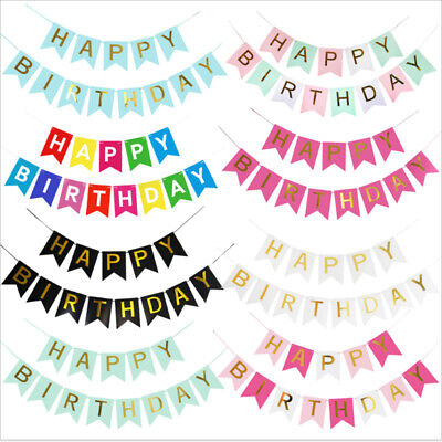 Happy Birthday Bunting Banner Pastel Hanging Letters Party Decoration Garland