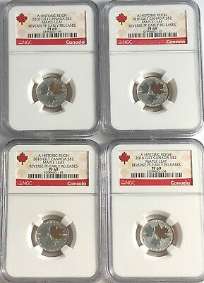 2016 $2 Canada Silver Maple Leaf Gilt Ngc Pf69 Reverse Proof 1/10 Oz 4 Coins