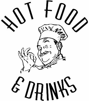 Chef Decal 27, Cafe Decal, Takaway Stickers/Vinyl Graphics, 1000mm x 900mm