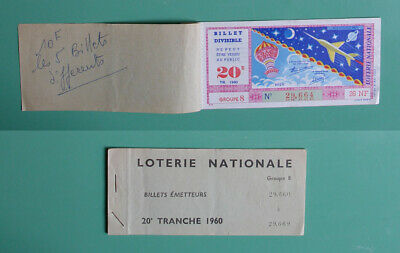 Loterie Nationale Carnet 5 billets 1960 Aviation hier aujourd'hui - CHAIX Paris
