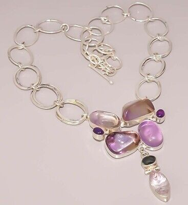 Ametrine Amethyst Cab Iolite Quartz 925 Sterling Silver Plated Necklace