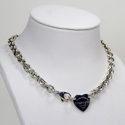 """Tiffany & Co. Return To Heart Tag Choker Necklace 925 Sterling 15 1/2"""" A3193"""