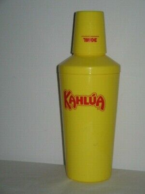 Kahlua Acrylic Yellow Drink Mixer Shaker 30ml Cup Measure Lid Recipe on Back