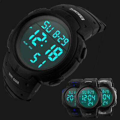 Men's Digital Sports Watch LED Screen Large Face Military Waterproof Watches US