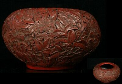 Jun133 Chinese Wood Lacquer Flower Engraving Tuishu Pot Jar Vessel Marked