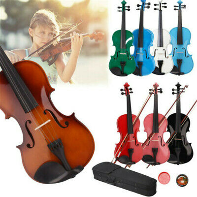 1/8 1/4 3/4 1/2 4/4 Acoustic Violin with Case + Bow + Rosin for Beginner Gift