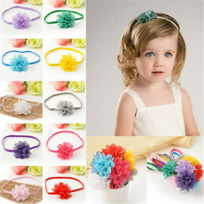 Lots 10Pcs Baby Girl Infant Toddler Flower Headband Chiffon Headwear Hair Band
