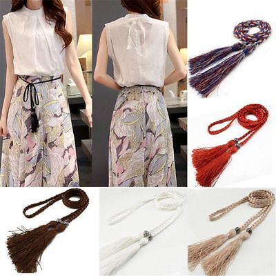Women Braided Tassel Waist Belt Dress Thin Bowknot Belt Band Tie Rope Chain